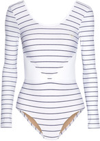 Lucas Hugh Leda mesh-trimmed striped stretch bodysuit