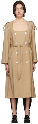 we11done Beige Collarless Trench Coat