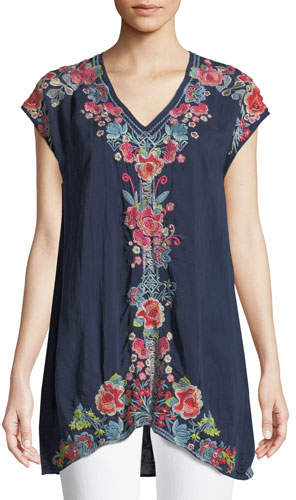 Johnny Was Pari Long Embroidered V-Neck Tunic, Plus Size