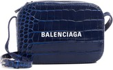 Balenciaga Extra Small Everyday AJ Croc Embossed Calfskin Leather Camera Bag