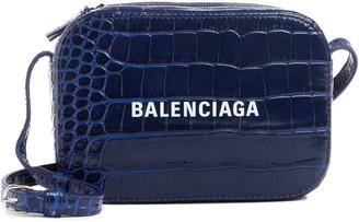 Balenciaga Extra Small Everyday AJ Croc Embossed Calfskin Leather Camera Bag