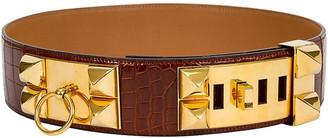 One Kings Lane Vintage Hermes Rare Croc Collier de Chien Belt - Vintage Lux