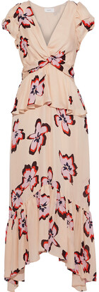 A.L.C. Zadie Twist-front Floral-print Silk Crepe De Chine Midi Dress