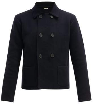 Connolly - Cropped Double-breasted Cotton Blazer - Mens - Navy