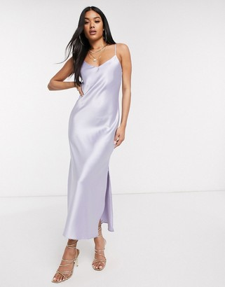 Asos DESIGN satin cami maxi slip dress in lilac
