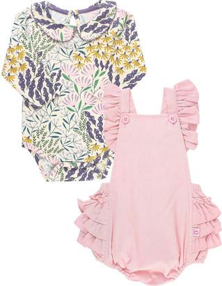 RuffleButts Girl's Walk in the Park Bodysuit & Ballet Pink Romper Set, Size 0-24M