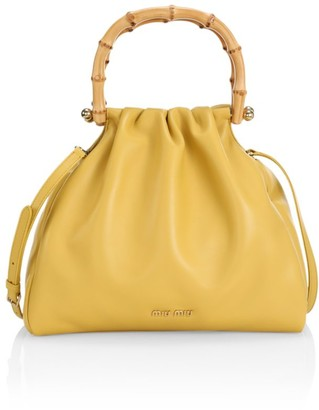 Miu Miu Leather & Bamboo Top Handle Bag