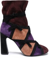 Roger Vivier Knotted Color-block Suede Ankle Boots