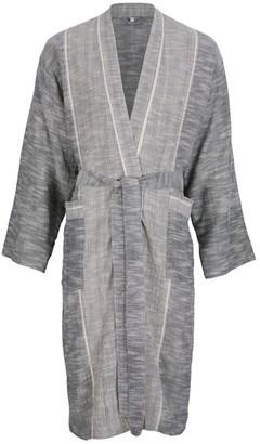 Luks Linen Shantung Hand Loomed Lounge Gown - Ash & Salt
