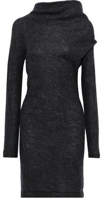 Helmut Lang Leather-trimmed Brushed Wool-blend Mini Dress