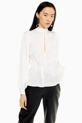 Topshop Womens Ivory Beaded Jacquard Top - Ivory