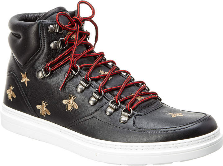 Gucci Bee High-Top Leather Sneaker