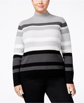 Karen Scott Plus Size Striped Ribbed Sweater, Only at Macy's