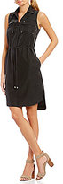 Jones New York Sleeveless Patch Pocket Shirtdress