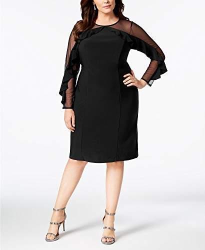 R&M Richards Women\'s 1 PCE Plus Size Sheer Sleeve Dress