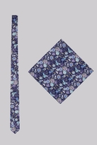 Moss Bros Navy & Purple Floral Tie and Pocket Square Set