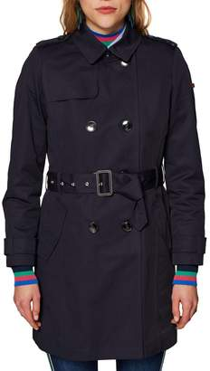 Esprit Cotton Double-Breasted Trench Coat with Pockets