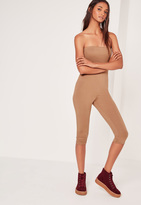 Missguided Jersey Bandeau Cropped Romper Camel
