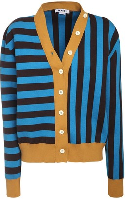 Sunnei Twinset Striped Knit Cotton Cardigan