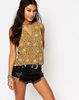 Glamorous Festival Cut Out Tank Top In Floral Print