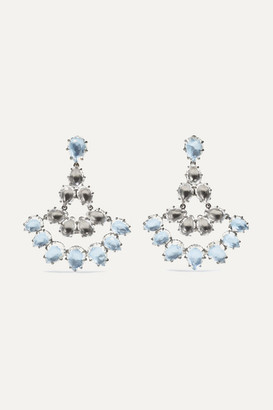 Larkspur & Hawk Caterina Fan Rhodium-dipped Quartz Earrings - Silver