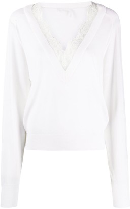 Chloé lace-embellished V-neck top