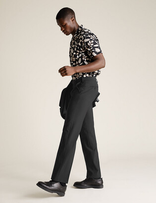 Marks and Spencer Big & Tall Black Regular Fit Trousers
