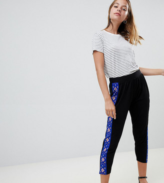 Asos DESIGN Petite tapered peg trousers with aztec print side stripe-Black