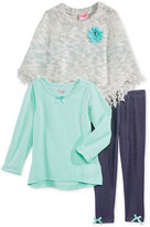 Nannette 3-Pc. Sweater Poncho, T-Shirt & Leggings Set, Little Girls (2-6X)