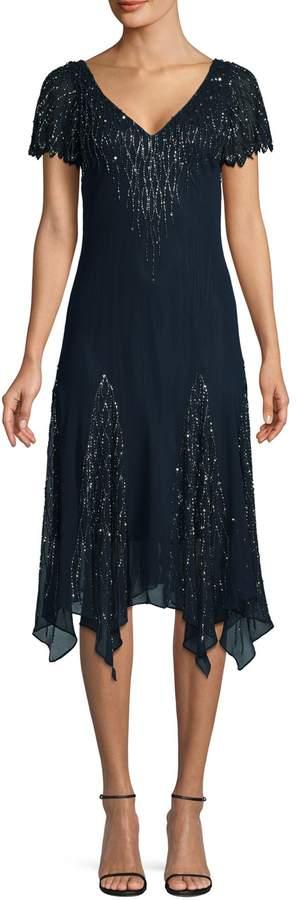J Kara Embellished Handkerchief Hem Dress