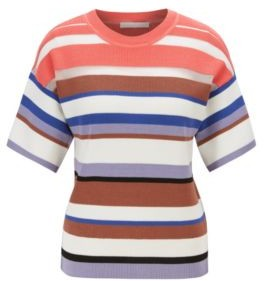 HUGO BOSS Short Sleeved Knitted Sweater With Multi Colored Stripes - Patterned
