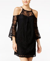 Amy Byer Juniors' Lace Cold-Shoulder Shift Dress