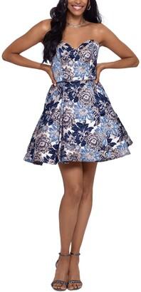 Blondie Nites Juniors' Brocade Fit & Flare Dress