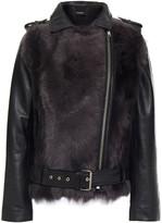 Thumbnail for your product : Muu Baa Muubaa Aurora Shearling-paneled Leather Biker Jacket