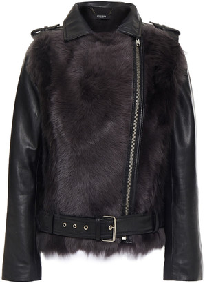 Muu Baa Muubaa Aurora Shearling-paneled Leather Biker Jacket