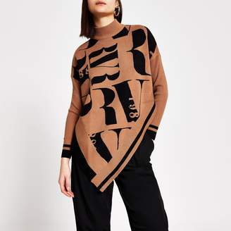 River Island Womens Brown RI printed knitted cape jumper