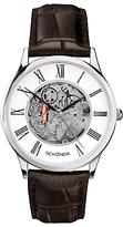 Sekonda 1202.00 Skeleton Leather Strap Watch, Brown/white
