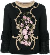 Alberta Ferretti floral frill sleeve top - women - Virgin Wool - 40