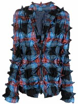 Thumbnail for your product : Charles Jeffrey Loverboy Spike-gathered tartan wool blazer