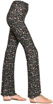 Black Coral Floral Printed Flared Jersey Leggings