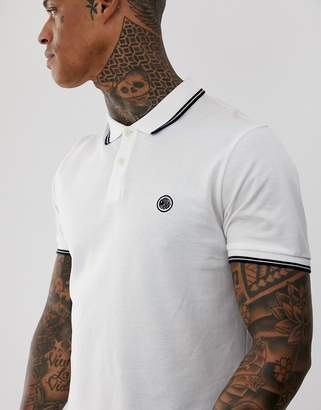 Pretty Green tipped pique polo in white