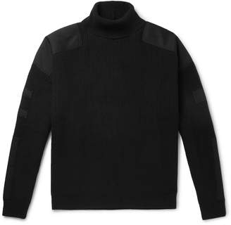 Amiri Twill-Trimmed Wool And Cashmere-Blend Rollneck Sweater