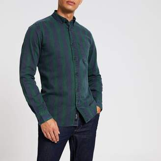 River Island Mens Only & Sons Green stripe long sleeve shirt