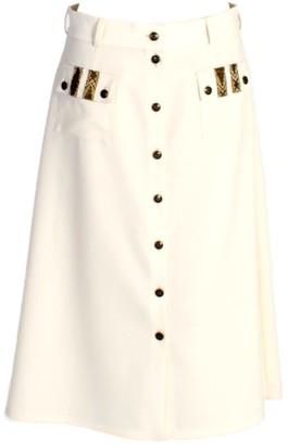 Relax Baby Be Cool A-Line Wool Button Up Midi Skirt With Pockets White