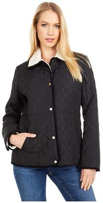 Lauren Ralph Lauren Quilted Blazer w/ Corduroy Trim/Berber (Black) Women's Clothing