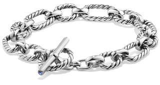 David Yurman Chain Cushion Link Bracelet with Blue Sapphire in Sterling Silver
