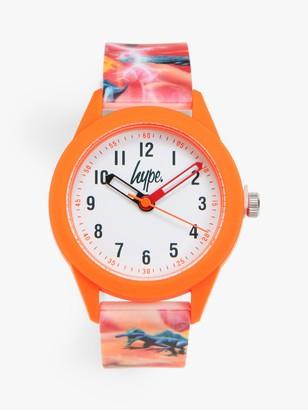 Hype HYK011O Children's Dinosaur Print Silicone Strap Watch, Orange/White