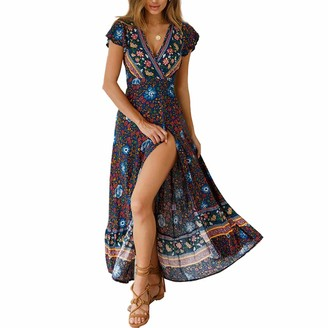 BEUHOME Women Maxi Dress Summer V Neck Short Sleeve Boho Floral Print Dress Ladies Casual Loose Split Wrap Dresses Beach Party A-line Dress with Belt Pink