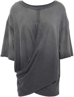 Current/Elliott The Draped Wrap-effect Cotton-jersey T-shirt