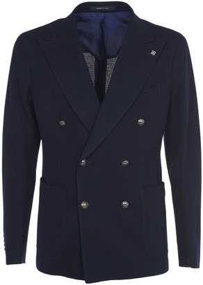 Tagliatore Double-breasted Blue Cotton Jacket